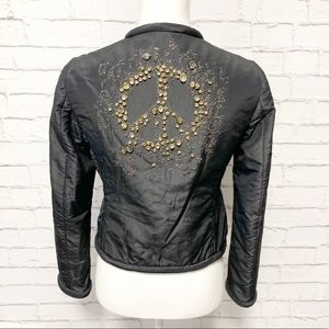 Moschino Embellished Peace Sign Silk Jacket